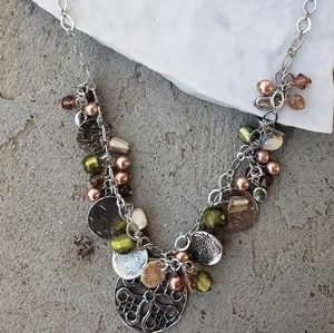 """♡ 13"""" green & copper charm necklace"""